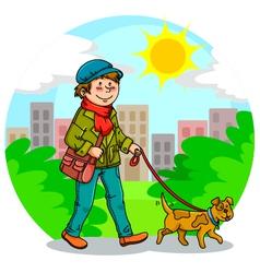 walking the dog vector image vector image