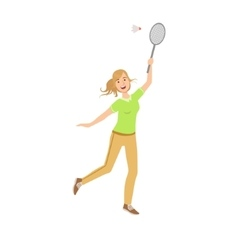 Woman Playing Badminton With Shuttlecock vector image