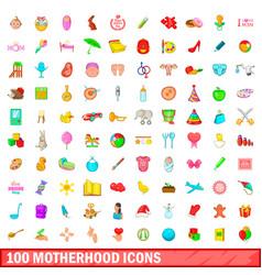 100 motherhood icons set cartoon style vector image