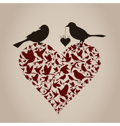 Bird on heart vector image