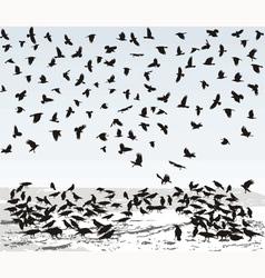 Crows in Winter vector image vector image
