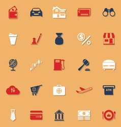 E wallet classic color icons with shadow vector image vector image