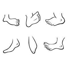 Feet collection outline vector