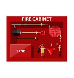 fire cabinet firefighting set fire equipment vector image vector image