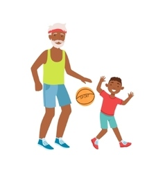 Grandfather and grandson playing basketball part vector