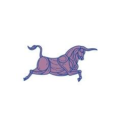 Texas Longhorn Bull Charging Mono Line vector image vector image