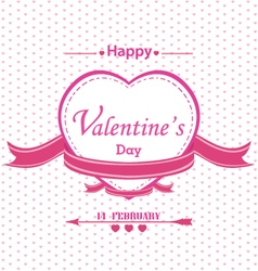 Valentines Day with full pink heart isolated on vector image vector image