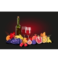 Wine and fruit vector image