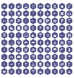 100 outfit icons hexagon purple vector