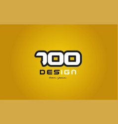 700 number numeral digit white on yellow vector