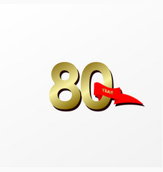 80 years anniversary celebration gold with red vector