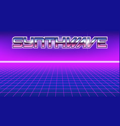 80s style poster with chrome word synthwave on it vector image