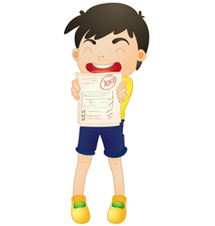 a boy showing marks vector image