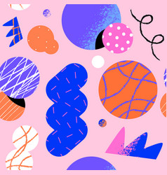 Abstract retro 90s cartoon shape seamless pattern vector