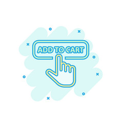 Add to cart shop icon in comic style finger vector