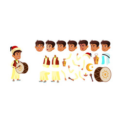 arab muslim boy schoolboy kid celebrating vector image