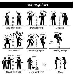 Bad neighbors stick figure pictograph icons a set vector