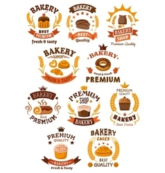 Bakery and pastry badges or emblems vector image vector image