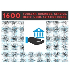 Bank Service Icon with Large Pictogram Collection vector