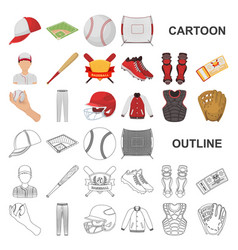 baseball and attributes cartoon icons in set vector image