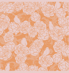 birds on roses pink orange seamless repeat vector image