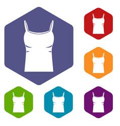 Blank women tank top icons set hexagon vector
