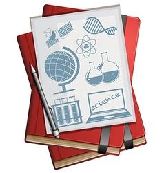 Books and paper with science symbols vector image