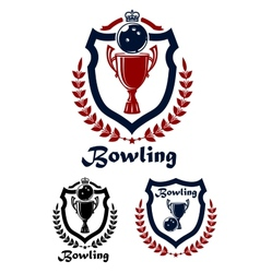 Bowling sport emblems and icons vector