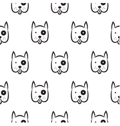Boxer dog seamless monochrome pattern vector