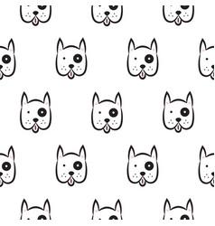 boxer dog seamless monochrome pattern vector image