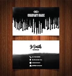 Business card with black paint drips vector image vector image