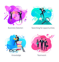 Business solution knowledge and teamwork set vector