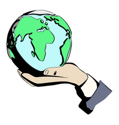 businessman holding earth on his hand vector image