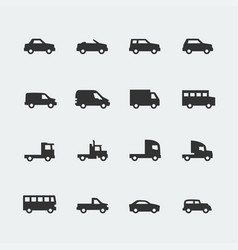 Cars vehicles mini icons set vector