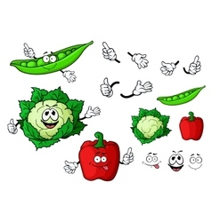 Cartoon cauliflower pepper and pea pod vegetables vector image