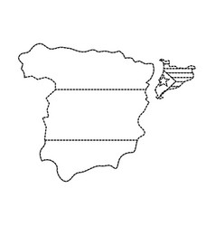 Catalunya flag and country outline separated from vector