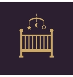 Childrens bed icon Baby bed design Cradle and vector