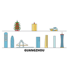 china guangzhou city flat landmarks vector image