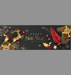 christmas and new year banner vector image