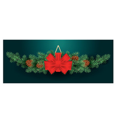 christmas decoration with red bow on fir tree vector image