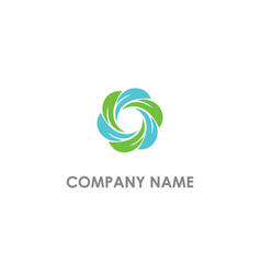 circle leaf eco organic logo vector image