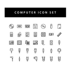 computer hardware icon set with black color vector image