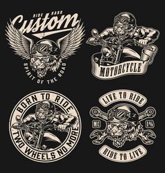 custom motorcycle vintage monochrome designs vector image