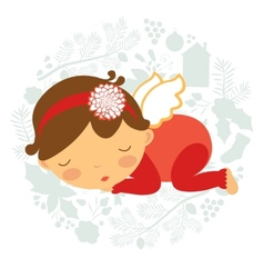 Cute baby girl sleeping vector