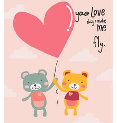 cute cartoon teddy bears flying with heart vector image
