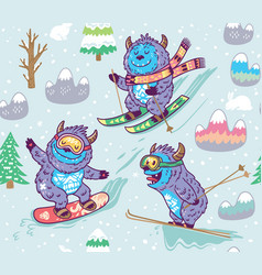 cute yeti skiing in the mountain seamless pattern vector image