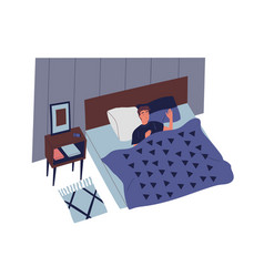 Cute young man sleeping in bedroom at night male vector