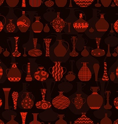 Dark seamless texture with rows variety vases vector