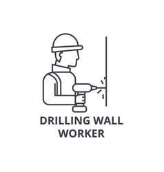Drilling wall worker line icon sign vector