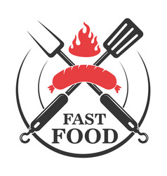 Fast food cafe emblem template crossed fork and vector
